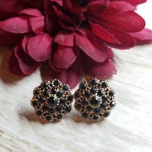 Gold & Tiny Black Cobochon Studs